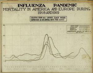 Kolejne fale grypy hiszpanki sprzed wieku przychodziły wraz zzimniejszymi porami roku (grafika: US National Museum of Health and Medicine0). Źródło grafiki nr 3.